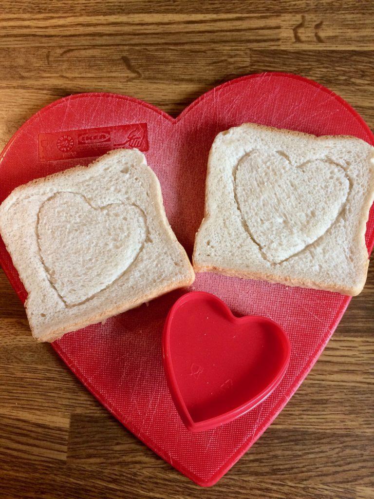 Valentinstag Herzstempel Toastbrot