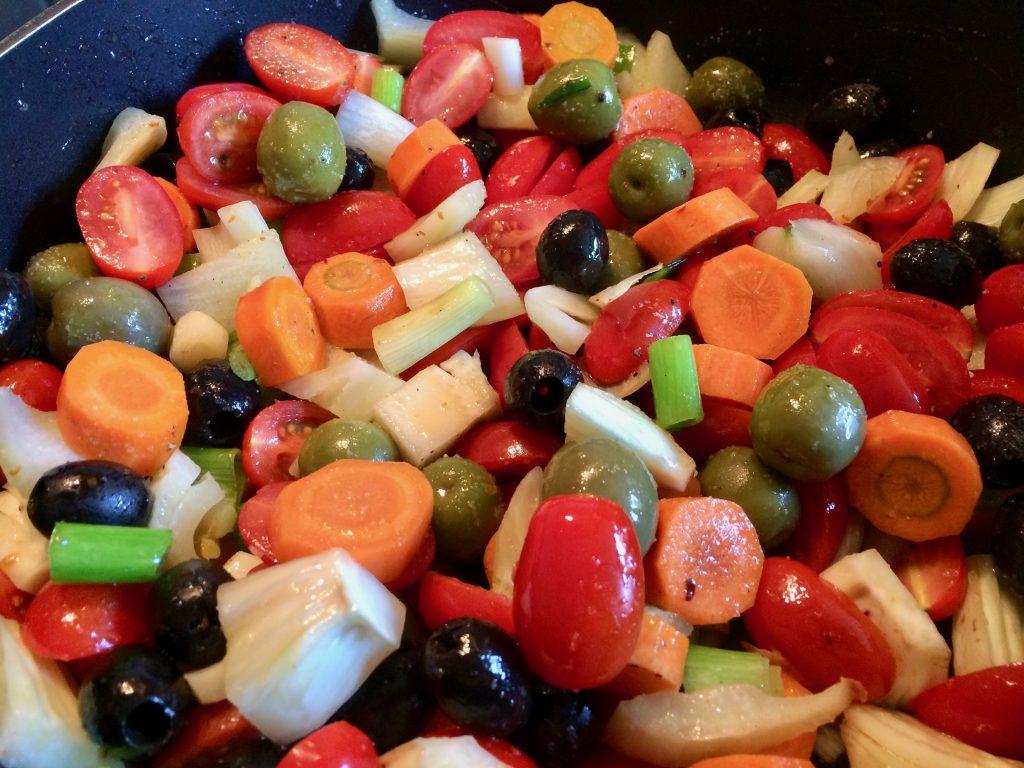 Forelle mit mediterranem Gemüse und Couscous